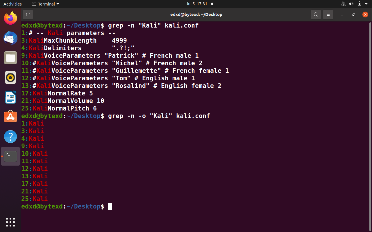 Use Grep and Show Only Match and Corresponding Line Numbers (grep -n -o)